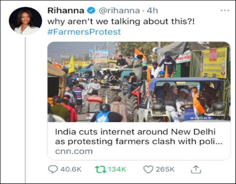 Rihanna is one such popular American celeb who has voiced her opinion in the farmers' protests
