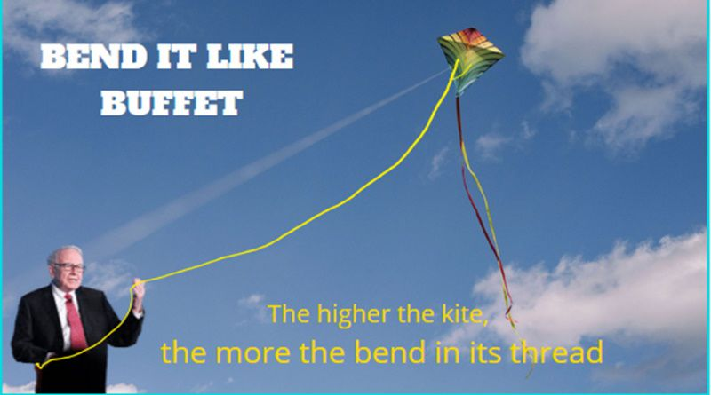 the higher the kite the more bent in its thread
